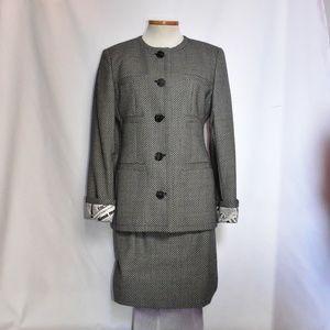 Vintage Valentino Miss V Check Skirt Suit sz 8